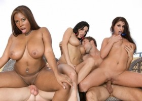 Busty Ebony Veronica Rayne, Whitney Stevens and Candace Von Street Whore Fucks