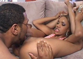Ebony teen babe suck 13 inch black dick and have hairy pussy bang