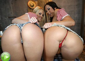 Wild west girls with bubble butts fucked in the barn